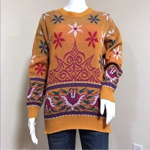 Bogner Vintage 80's Ski Sweater S Orange Snowflake